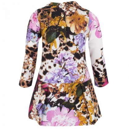 Roberto Cavalli Floral Print Jersey Puffball Hem Dress Back