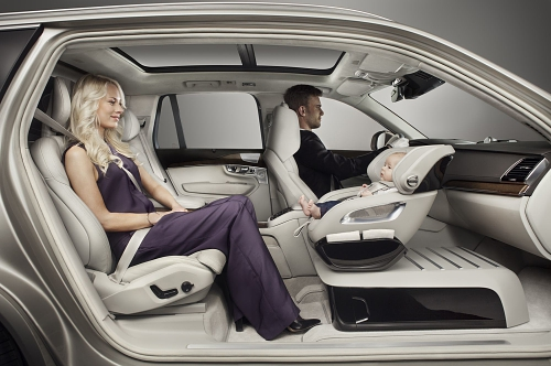 The Excellence Child Seat Concept enables the child to travel rear faced and to keep eye-contact with either the driver or the rear passenger (PRNewsFoto/Volvo Car Group)