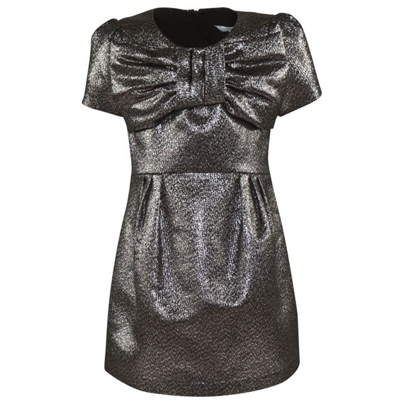 Little Marc Jacobs Silver Occasion Dress with Bow