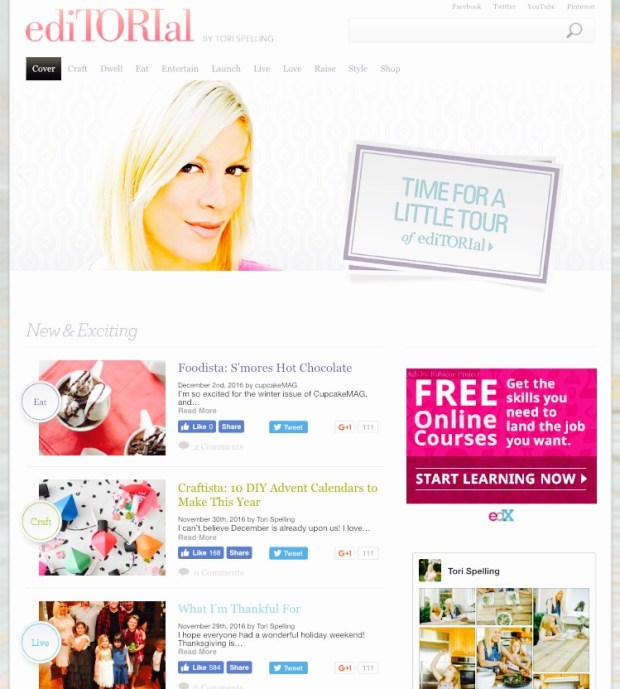 Torispelling ediTORIal by Tori Spelling Best Celebrity Mom Websites CharmPosh