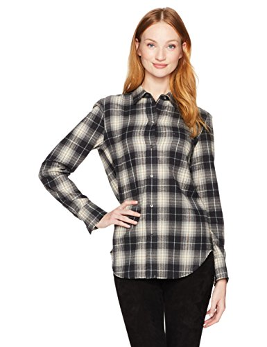 Vince Women's Long Tartan Plaid Oversized Button Down CharmPosh