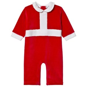 Red Tis the Season Christmas Velour Footless Babygrow by KISSY KISSY CharmPosh