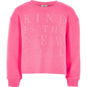 River Island Kind is the new cool Girls Pink Jersey Fabric Sweatshirt CharmPosh