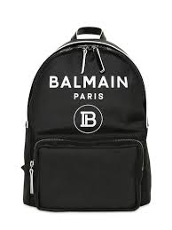 Balmain Black Logo Backpack CharmPosh