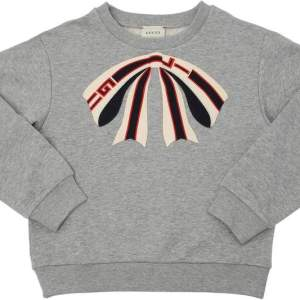 Gucci Grey Girls Sweatshirt With Signature Bow Embroidered main CharmPosh