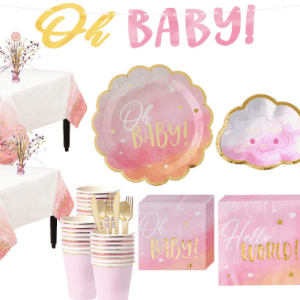 Metallic Gold & Pink Oh Baby Girl Baby Shower Kit for 32 Guests @Charmposh.com