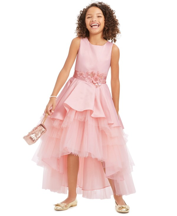 Big Girls Satin & Tulle Embellished Gown by Rare Editions CharmPosh