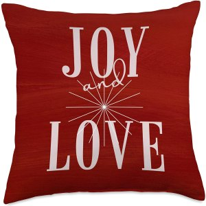 Cheerful Red Joy and Love Holiday Throw Pillow by CRRHome CharmPosh