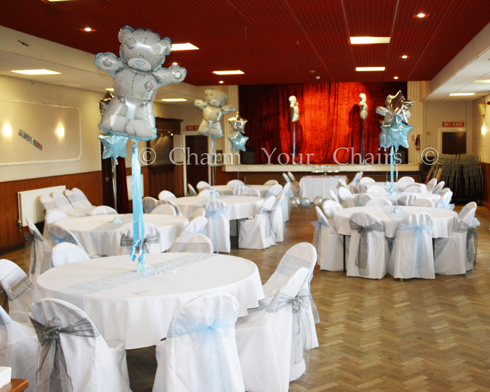 wedding chair covers preston with tablet arm canada & balloons - charm your chairs more