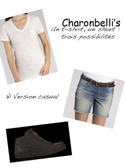Un short, un t-shirt, trois possibilités (3) - Charonbelli's blog mode