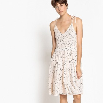 Robe-evasee-pois-bretelles-a-nouer-La-Redoute-Collections-Charonbellis