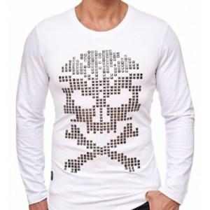 Red Bridge trendy heren skull sweatshirt met studs, R120 Wit