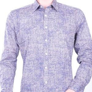 Gabano trendy modern fit allover dessin heren overhemd, G501 Bruin