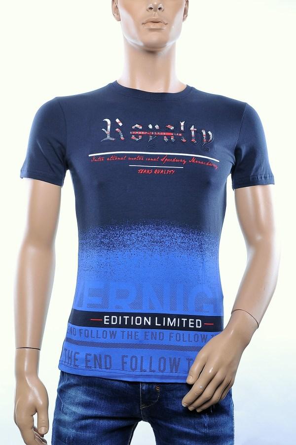 CLUB JU trendy ronde hals heren T-Shirt met 3D letters, C281 Navy