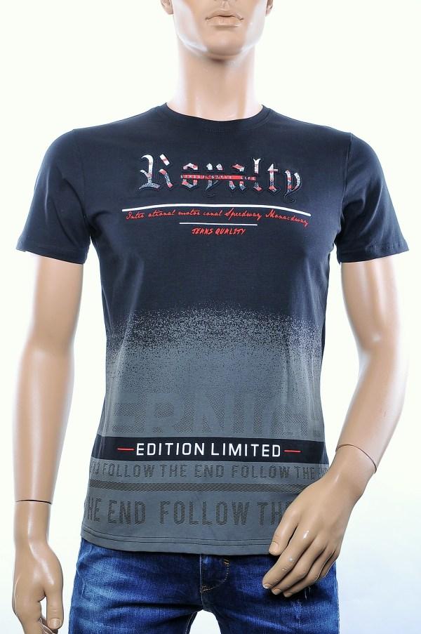 CLUB JU trendy ronde hals heren T-Shirt met 3D letters, C281 Wit
