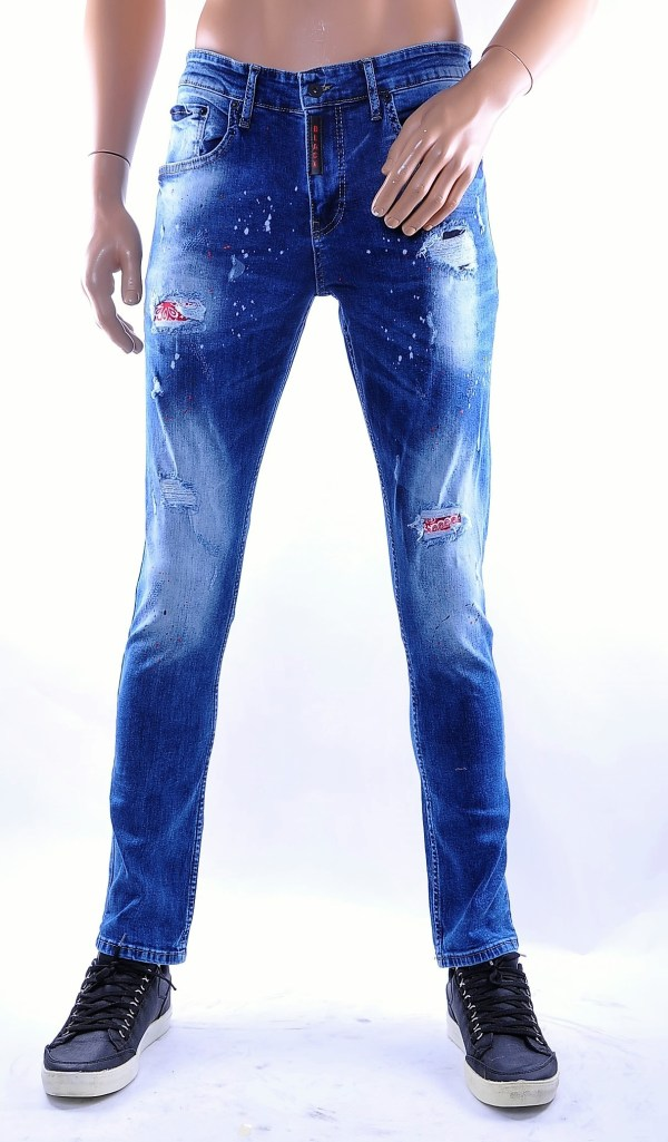 BlackRock trendy gescheurde slim fit heren skinny jeans met verfvlekjes, B616 Blauw