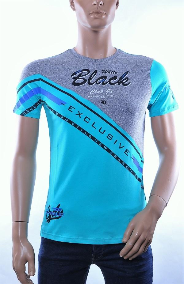 CLUB JU trendy ronde hals heren T-Shirt met contrast geborduurde tekst, C282 Turquoise
