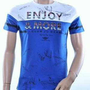 CLUB JU trendy ronde hals heren T-Shirt met 3D letters, C375 Blauw