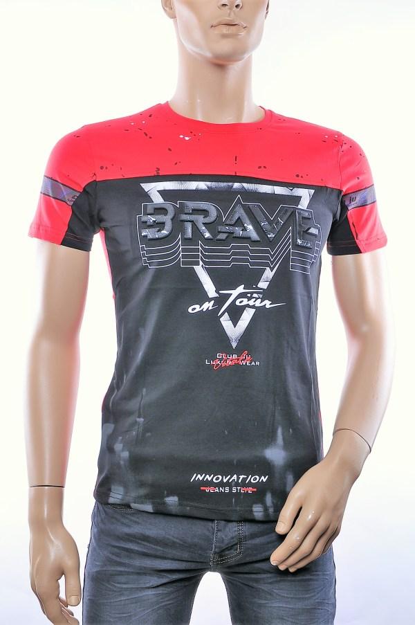 CLUB JU trendy ronde hals heren T-Shirt met 3D letters, C910 Rood