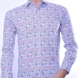 Corrino trendy slim fit allover modern dessin heren overhemd, C788 Wit