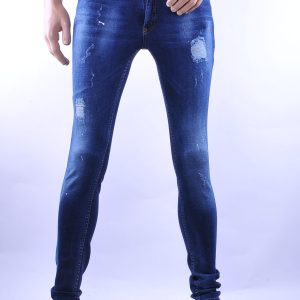 D&A trendy gescheurde slim fit heren skinny jeans met verfspetters, D003 Blauw