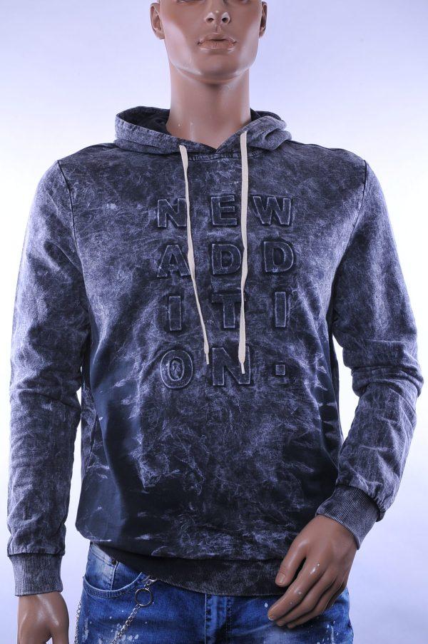D&A trendy heren sweatshirt met capuchon, D029 Zwart