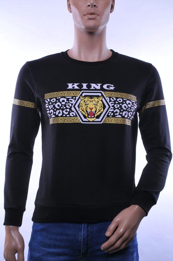 Jaylvis & Arancia trendy ronde hals heren sweatshirt met tijgerkop print, J069 Zwart