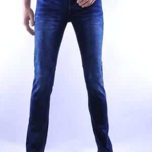 Jaylvis trendy slim fit heren jeans met contrast kleur stiksels, J381 Donkerblauw