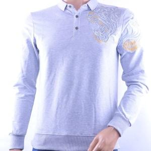Ci-Borg/Les Designers trendy heren Poloshirt met geborduurde tijgerkop, C338/L398 Grijs
