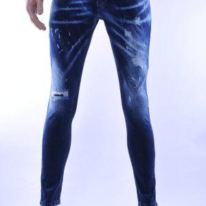 BlackRock trendy gescheurde slim fit heren skinny jeans met verfspetters, B555 Blauw
