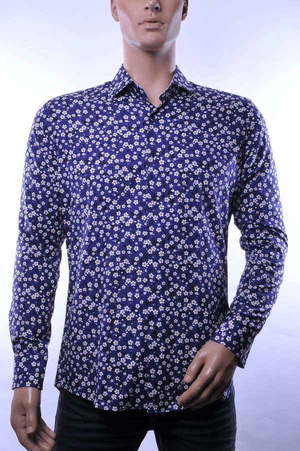Corrino trendy modern fit allover bloemen dessin heren overhemd, C984 Navy