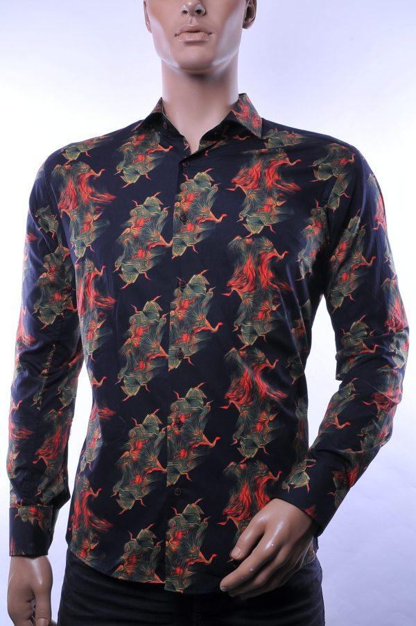 Corrino trendy modern fit allover modern dessin heren overhemd, C105 Zwart