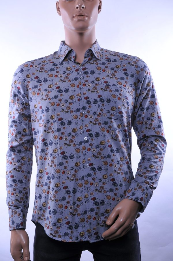 Ferlucci hippie regulair fit allover modern dessin heren overhemd met borstzak, F019 Grijs