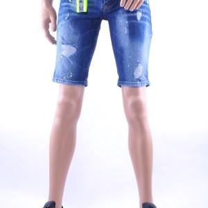 ICON2 hippie gescheurde slim fit heren korte spijkerbroek met verfvlekjes, I207 Blauw