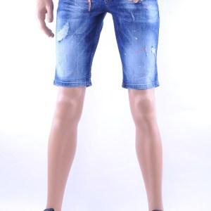 ICON2 hippie gescheurde slim fit heren korte spijkerbroek met verfvlekjes, I232 Blauw
