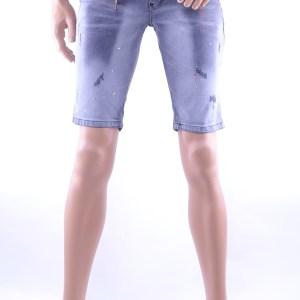 ICON2 hippie gescheurde slim fit heren korte spijkerbroek met verfvlekjes, I248 Grijs