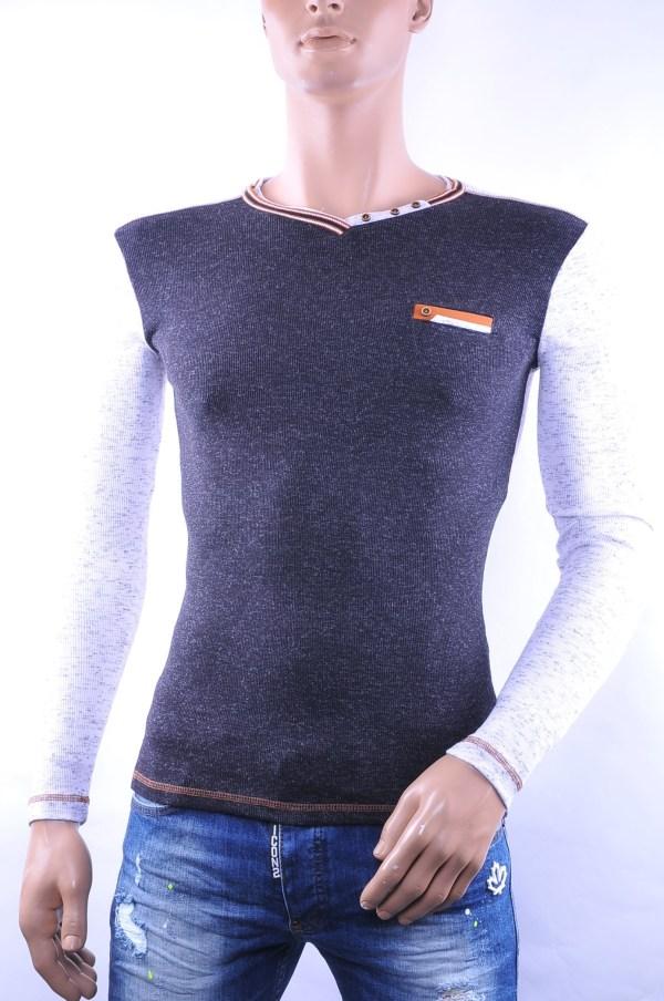 CLUB JU trendy slim fit gemêleerd heren V-hals Shirt, C055 Zwart