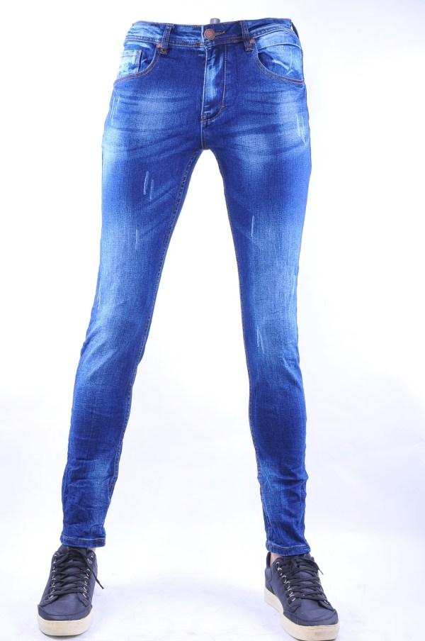 Denim Yes!Boy trendy gescheurde gewassen slim fit heren skinny jeans, Y581 Blauw