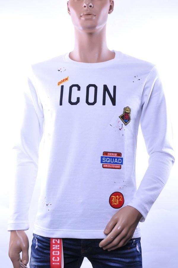 BlackRock trendy ronde hals ICON geborduurde heren sweatshirt, B635 Wit
