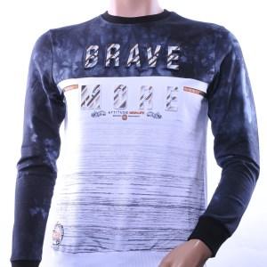 CLUB JU trendy ronde hals heren sweatshirt met 3D letters, C751 Wit