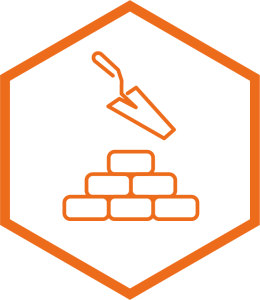 build icon with trowel and bricks graphic