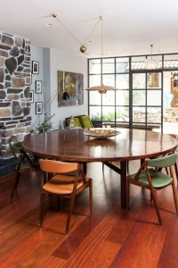 mid century room with round table