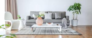 grey sofa in contemporary room