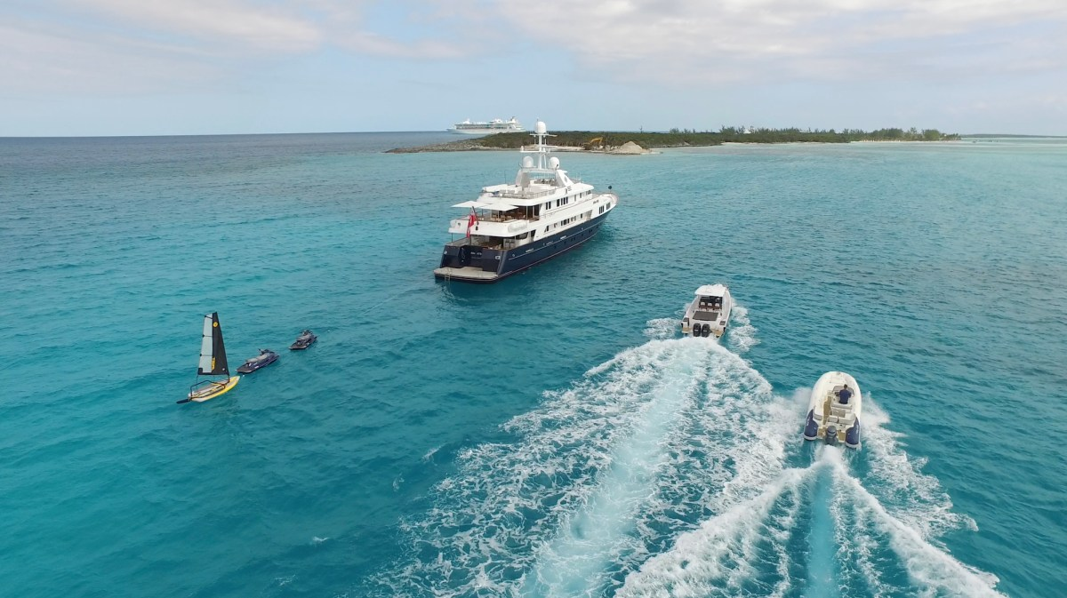 Motor yacht approaching a British Virgin Island