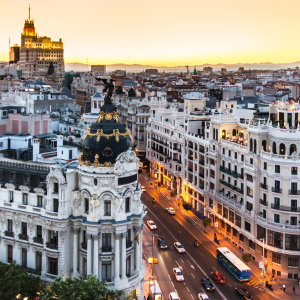 View of Madrid's Metropolis Building.