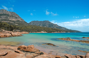 The bright blue water of the Tasmanian beach.