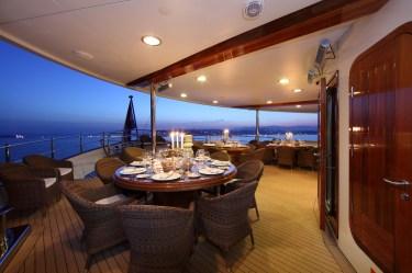 yacht dining sherakhan deck exterior superyacht aft alfresco luxury yachts charter upper superyachts meter charterworld enhancements location vuyk agent4stars party