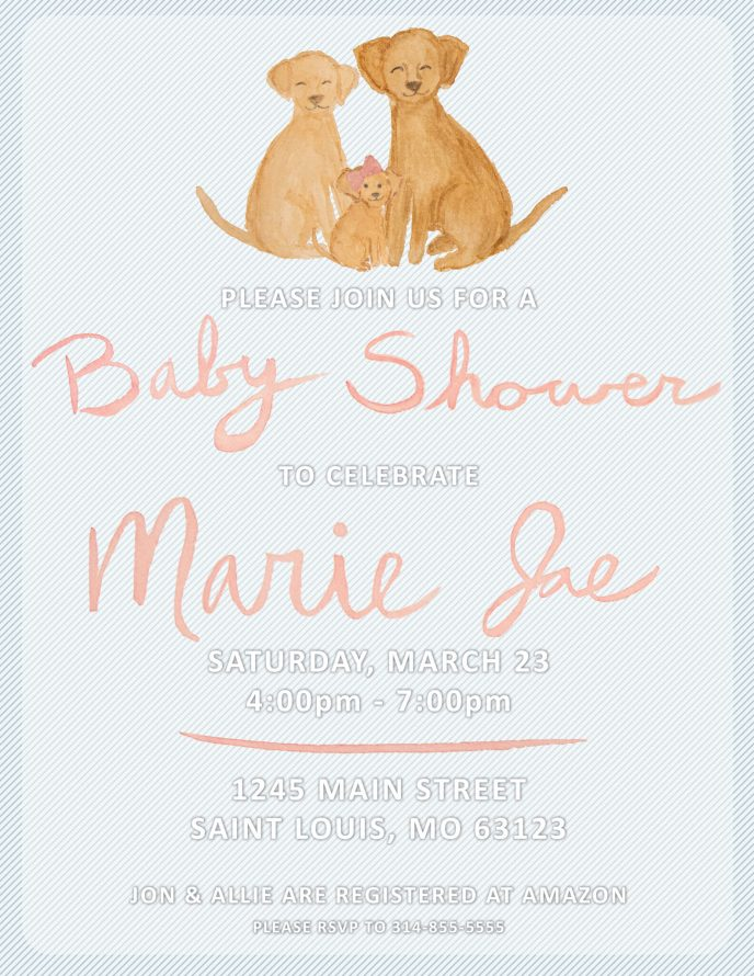 Baby Shower Invite with Golden Retriever Dogs