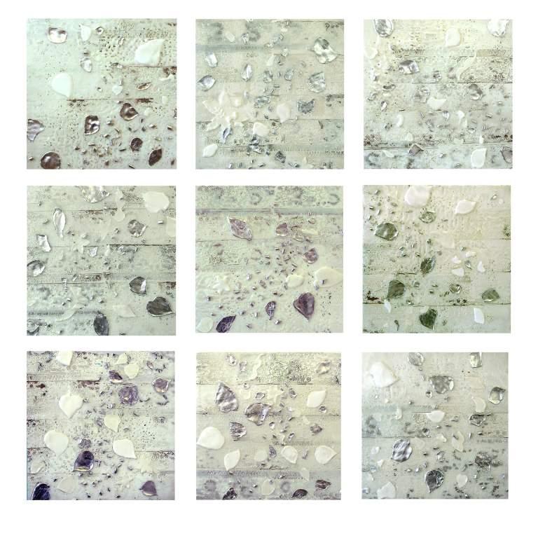 "Balsam Poplar Series, natural white  15"" x 15"" each  Encaustic, metal leaf, UV Resin on panel  2013"