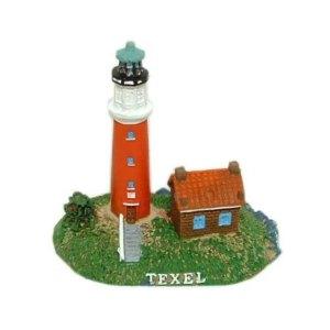 Texel Souvenir: Vuurtoren met huisje 8,5cm